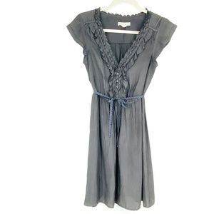 American Eagle Outfitters Grey RuffleMidi Dress XS